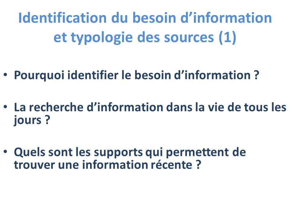 Identification du besoin d'information et typologie des sources (1)