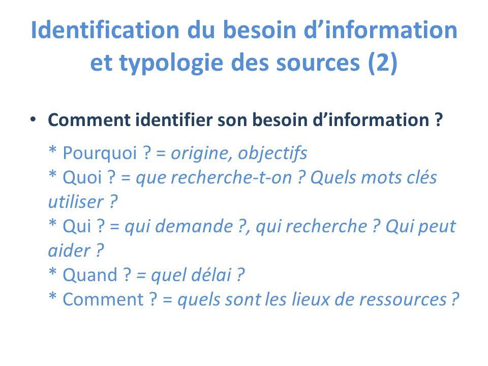 Identification du besoin d'information et typologie des sources (2)
