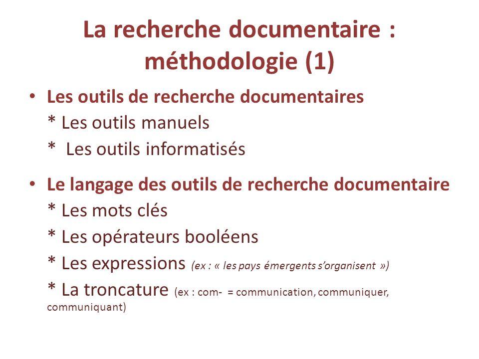 La recherche documentaire : méthodologie (1)