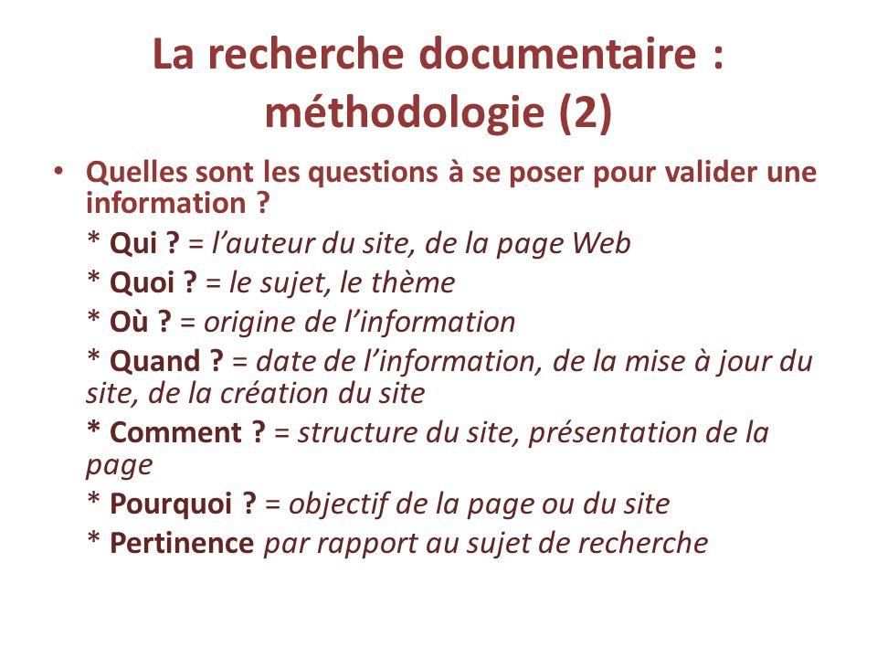 La recherche documentaire : méthodologie (2)