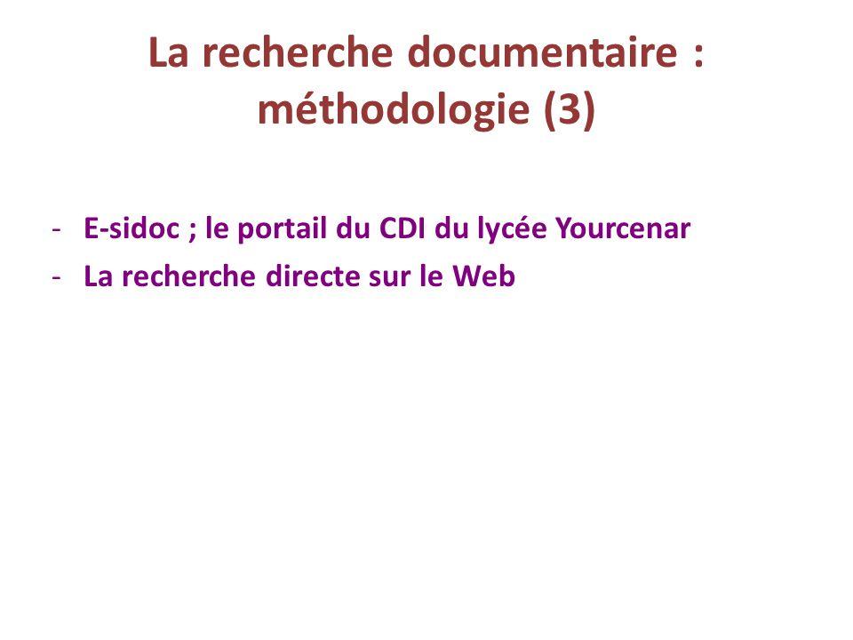 La recherche documentaire : méthodologie (3)