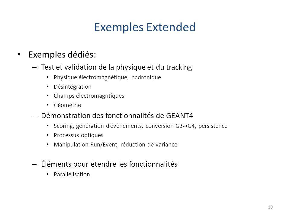 Exemples Extended Exemples dédiés: