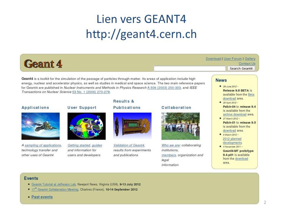 Lien vers GEANT4 http://geant4.cern.ch