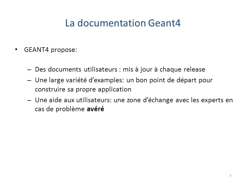 La documentation Geant4