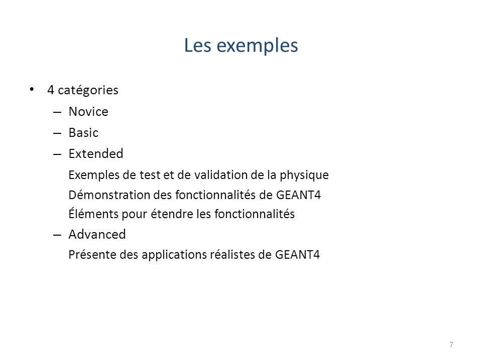 Les exemples 4 catégories Novice Basic Extended