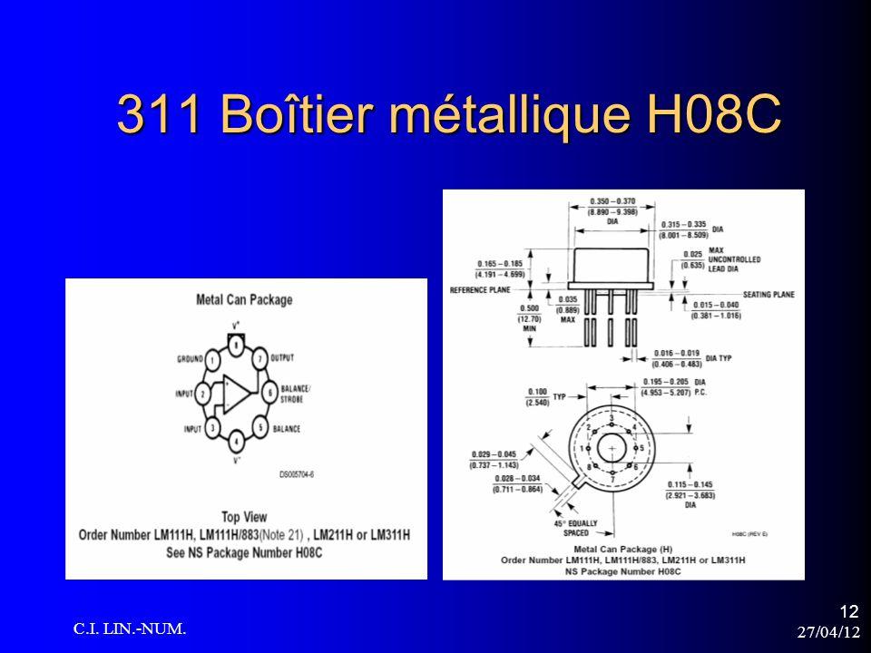 311 Boîtier métallique H08C C.I. LIN.-NUM. 27/04/12