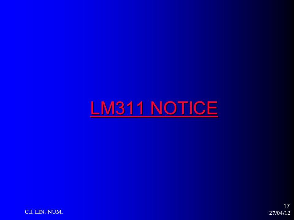 LM311 NOTICE C.I. LIN.-NUM. 27/04/12