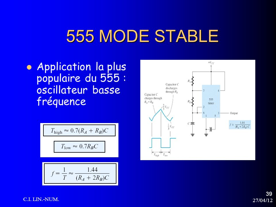 555 MODE STABLE Application la plus populaire du 555 : oscillateur basse fréquence. C.I. LIN.-NUM.