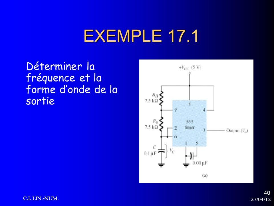EXEMPLE 17.1 Déterminer la fréquence et la forme d'onde de la sortie