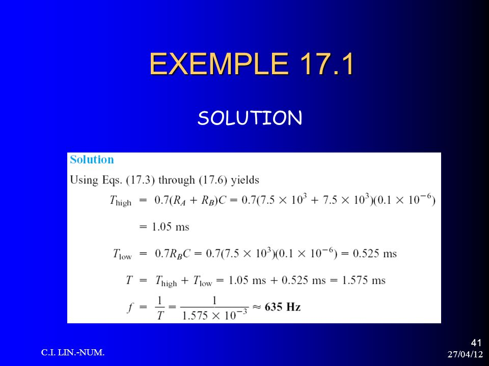 EXEMPLE 17.1 SOLUTION C.I. LIN.-NUM. 27/04/12