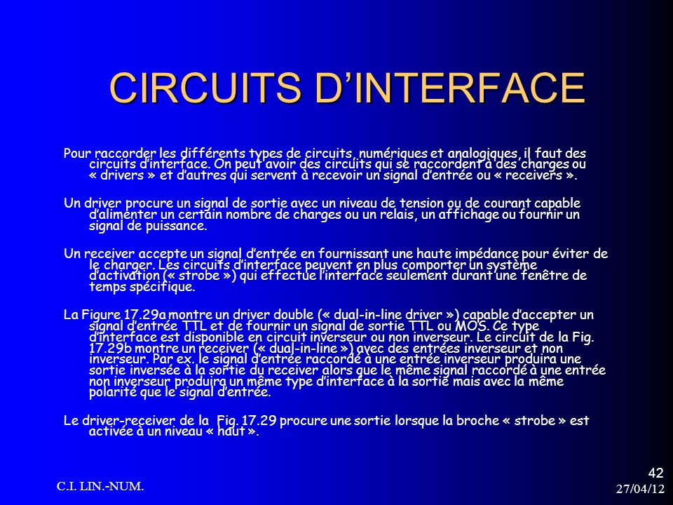 CIRCUITS D'INTERFACE