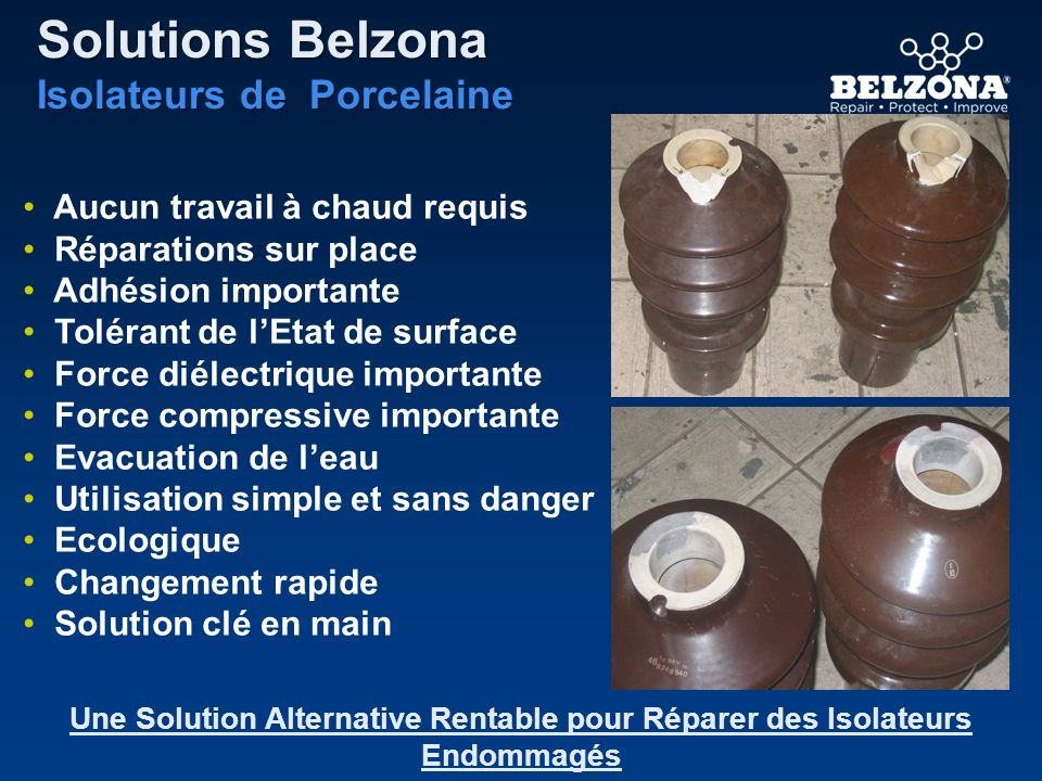 Solutions Belzona Isolateurs de Porcelaine