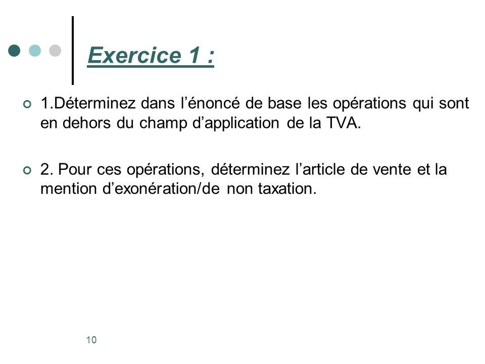 Exercice 1 : 1.Déterminez dans l'énoncé de base les opérations qui sont en dehors du champ d'application de la TVA.