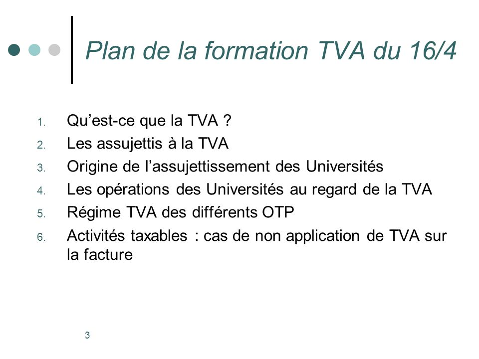 Plan de la formation TVA du 16/4