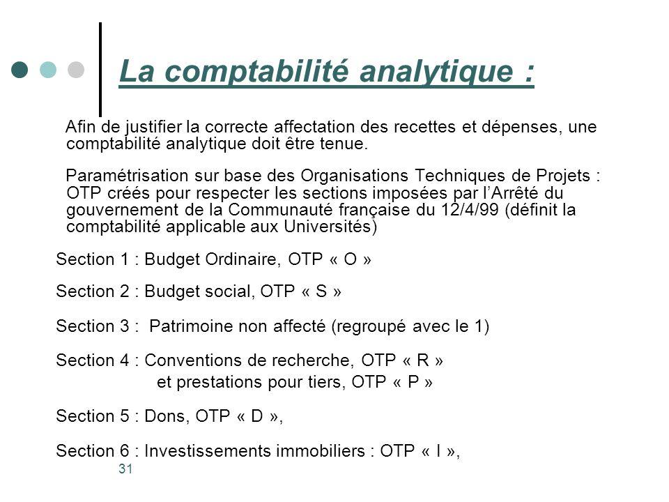 La comptabilité analytique :
