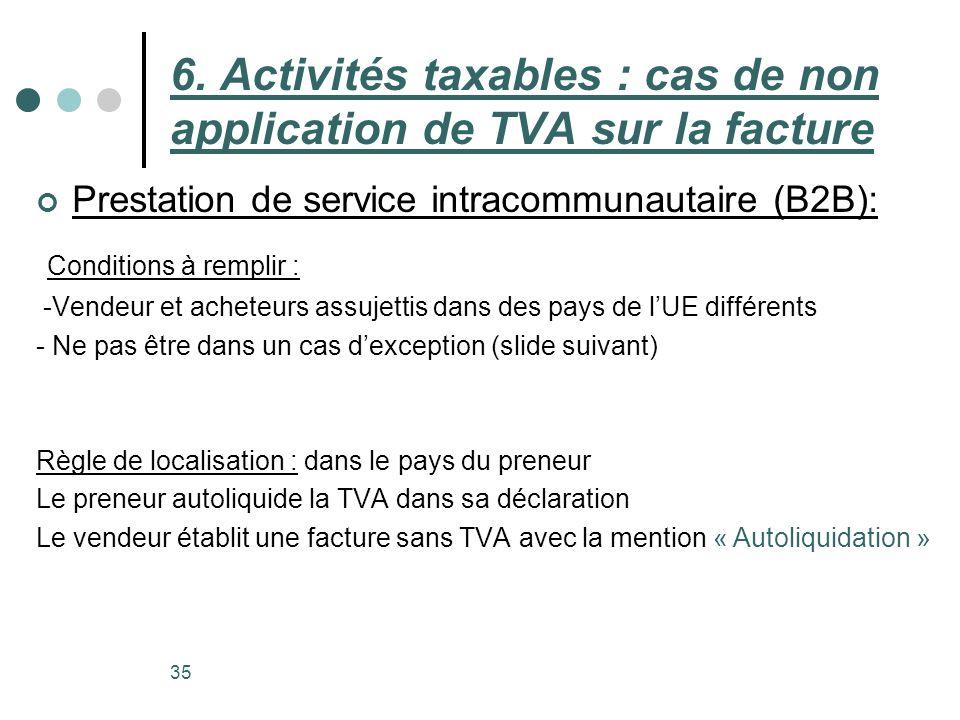 6. Activités taxables : cas de non application de TVA sur la facture