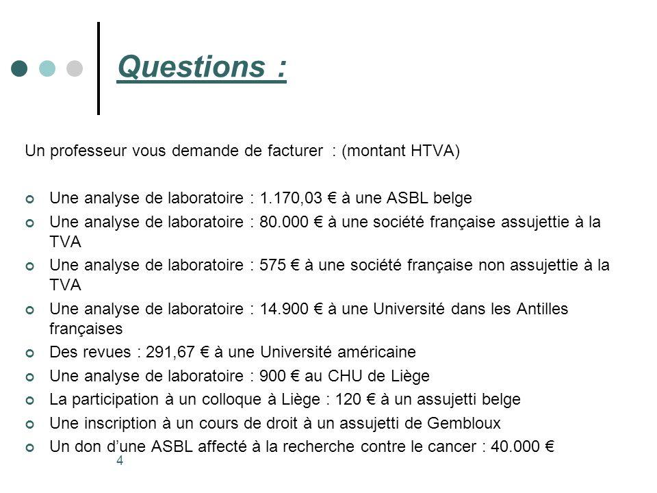 Questions : Un professeur vous demande de facturer : (montant HTVA)
