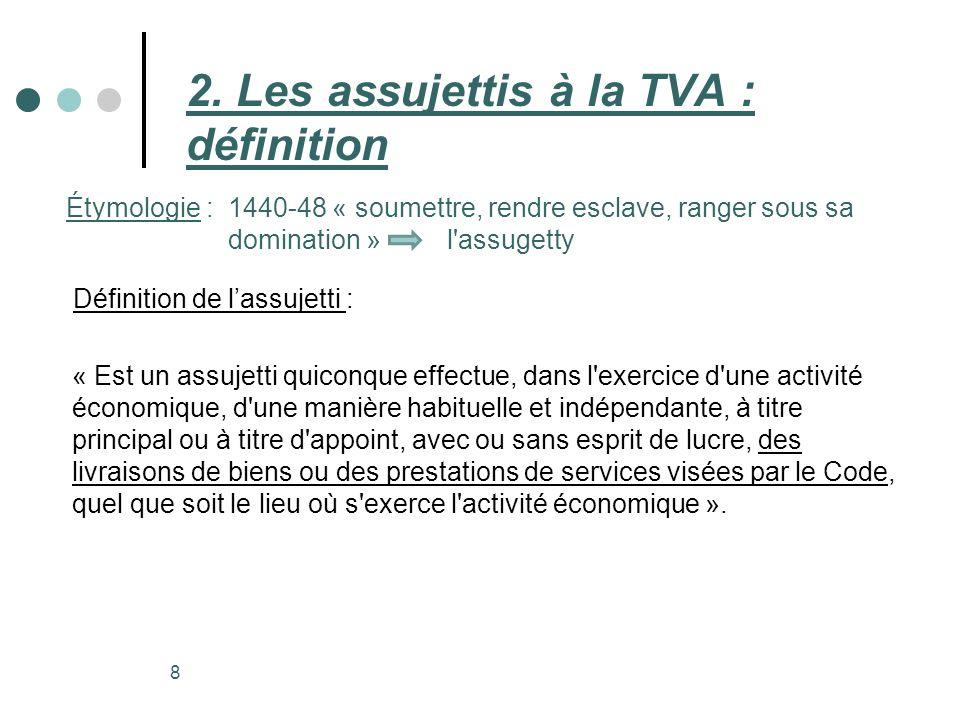 2. Les assujettis à la TVA : définition