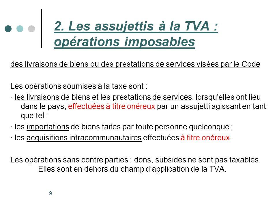 2. Les assujettis à la TVA : opérations imposables
