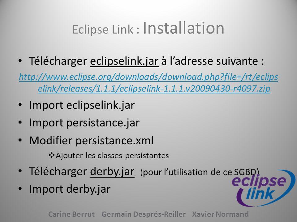 Eclipse Link : Installation
