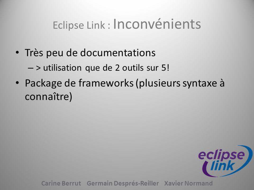 Eclipse Link : Inconvénients