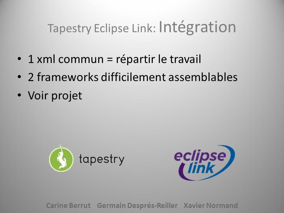 Tapestry Eclipse Link: Intégration