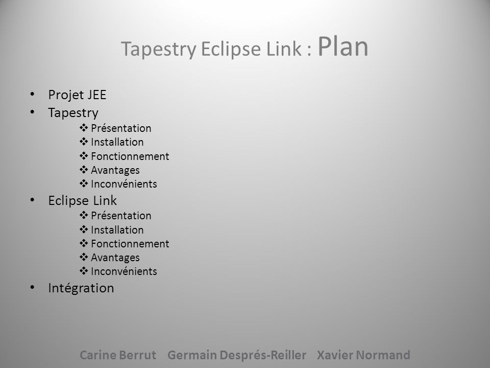 Tapestry Eclipse Link : Plan