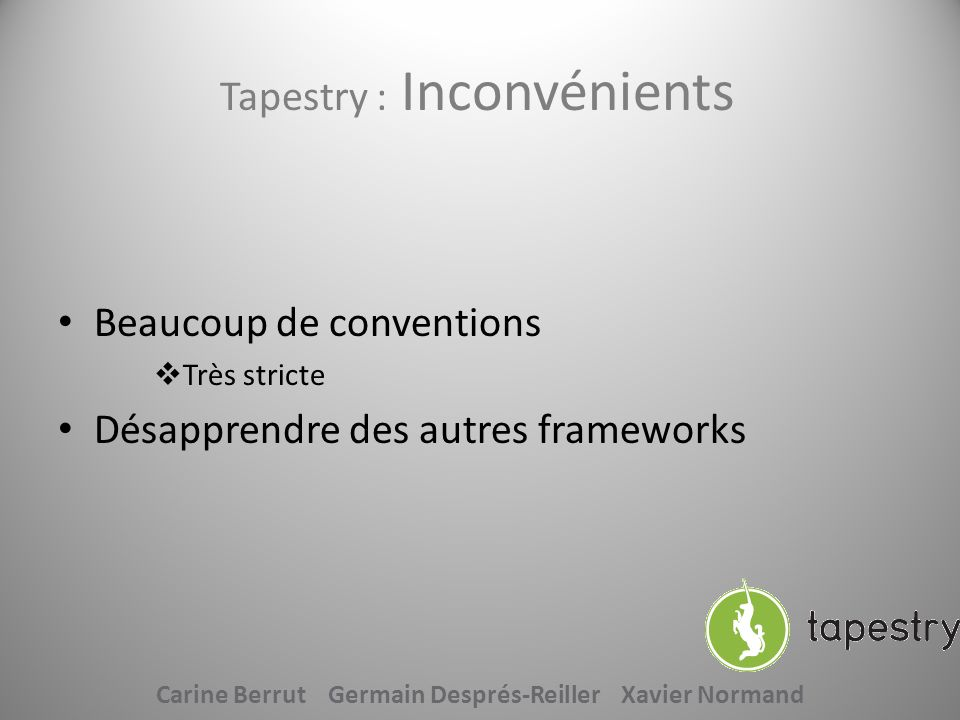 Tapestry : Inconvénients