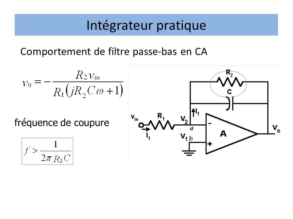 Intégrateur pratique Comportement de filtre passe-bas en CA