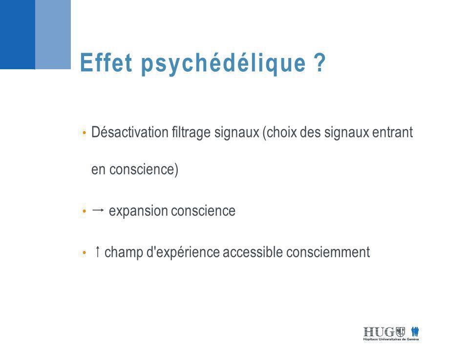 Effet psychédélique Désactivation filtrage signaux (choix des signaux entrant en conscience)  expansion conscience.