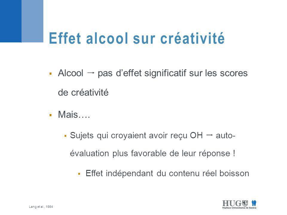 Effet alcool sur créativité