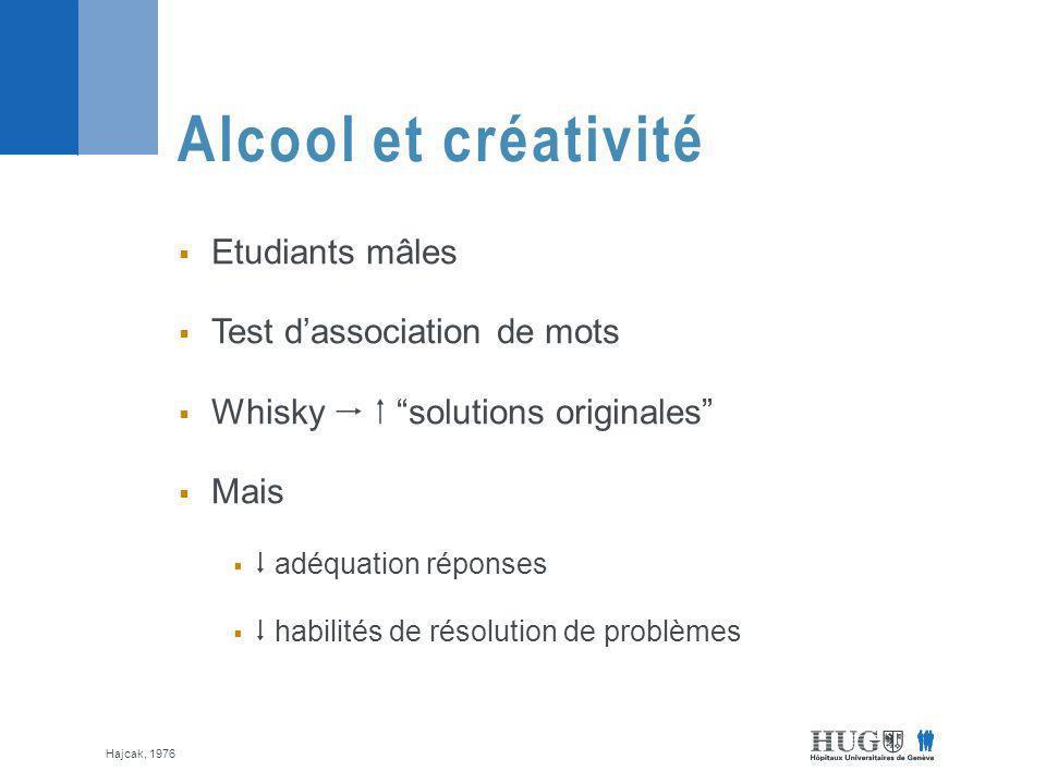 Alcool et créativité Etudiants mâles Test d'association de mots