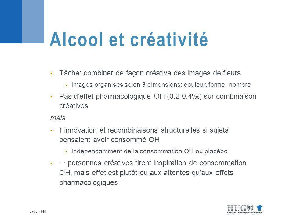 Alcool et créativité Tâche: combiner de façon créative des images de fleurs. Images organisés selon 3 dimensions: couleur, forme, nombre.