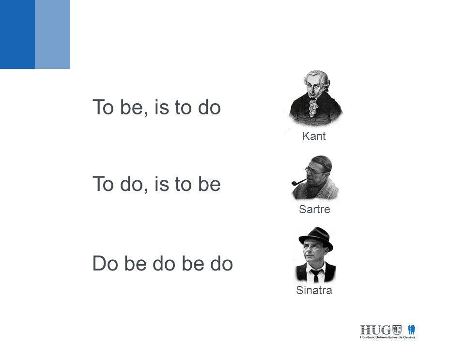Kant To be, is to do Sartre To do, is to be Sinatra Do be do be do