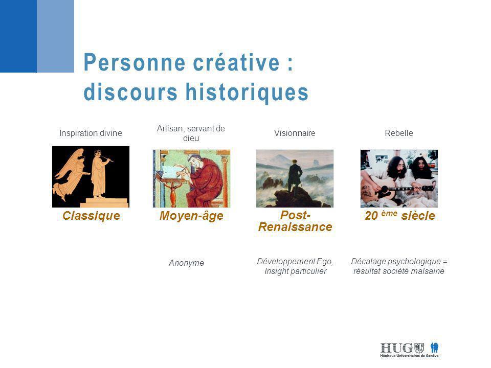 Personne créative : discours historiques