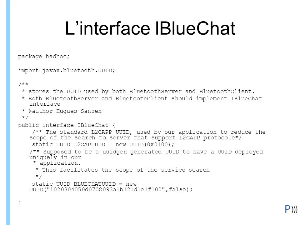 L'interface IBlueChat