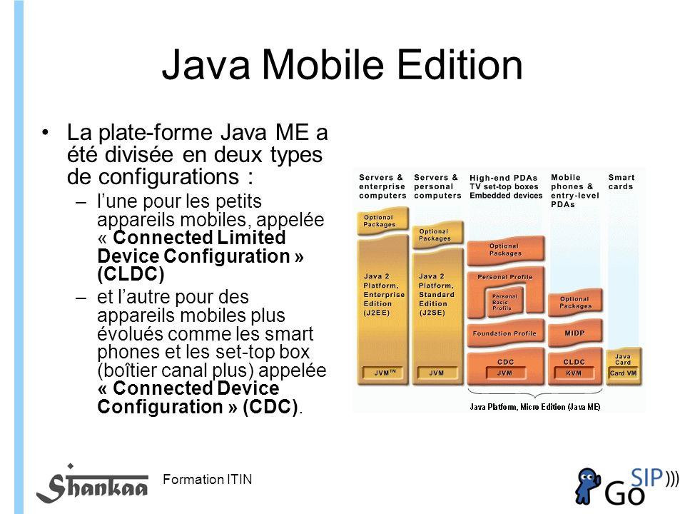 Java Mobile Edition La plate-forme Java ME a été divisée en deux types de configurations :