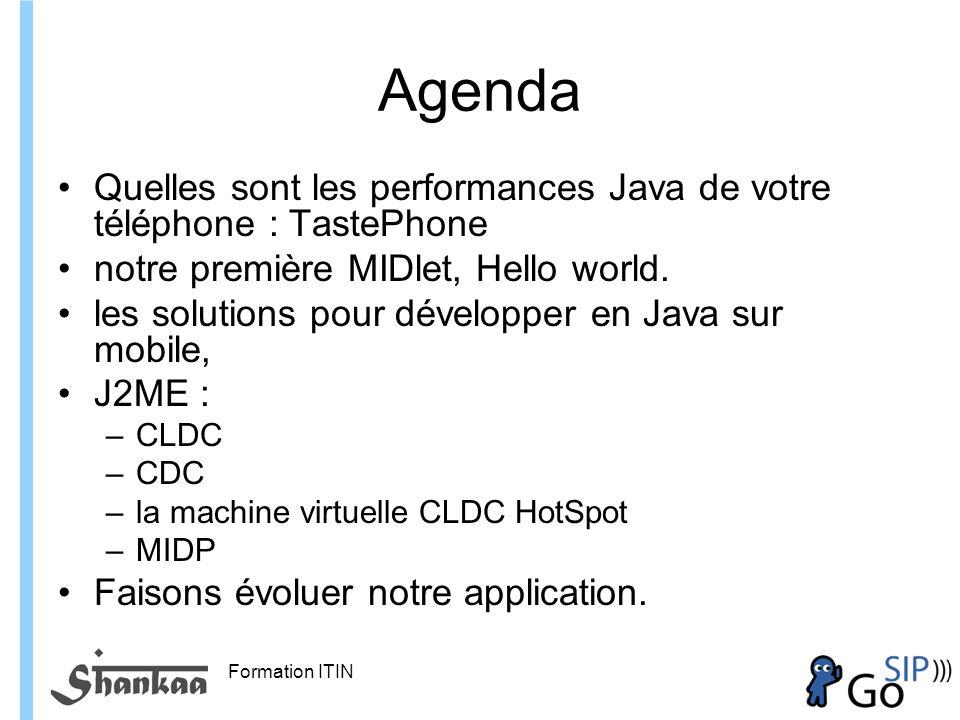 Agenda Quelles sont les performances Java de votre téléphone : TastePhone. notre première MIDlet, Hello world.