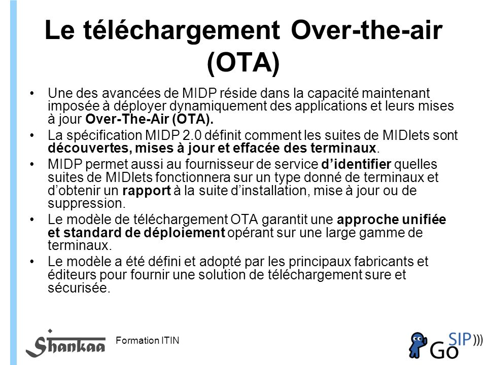 Le téléchargement Over-the-air (OTA)