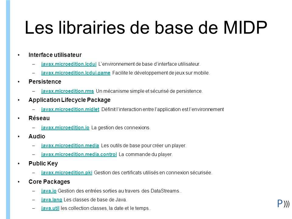 Les librairies de base de MIDP