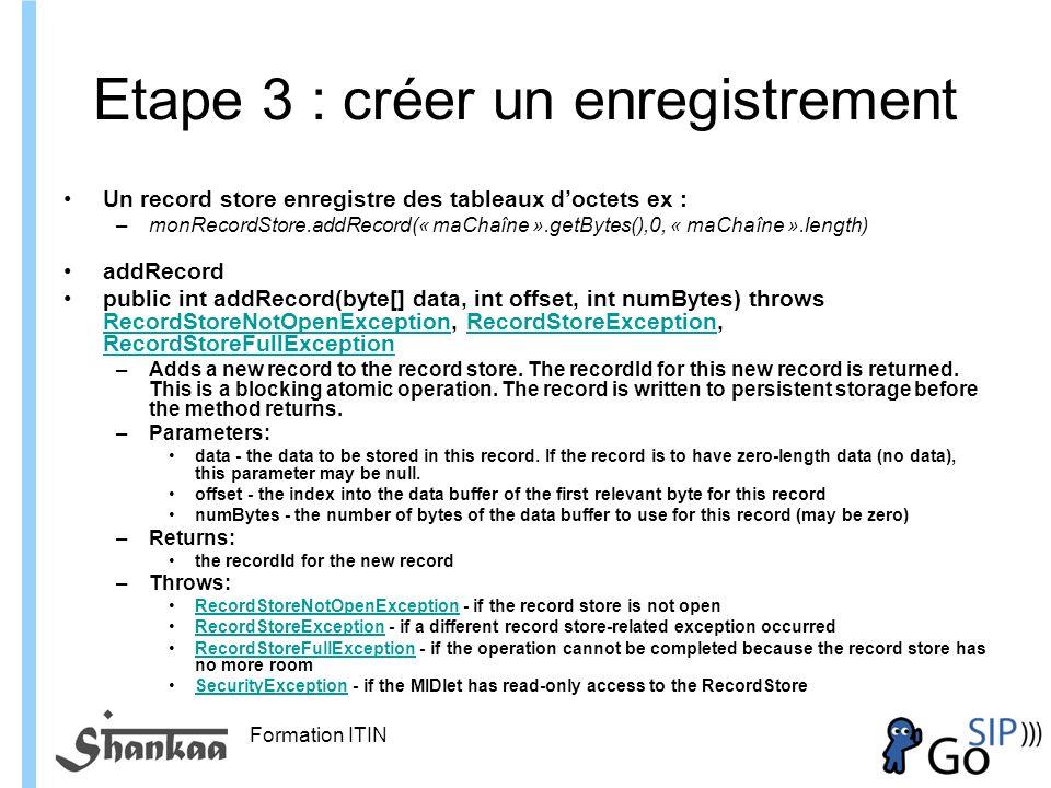 Etape 3 : créer un enregistrement