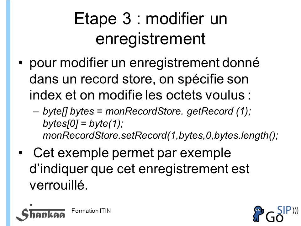 Etape 3 : modifier un enregistrement