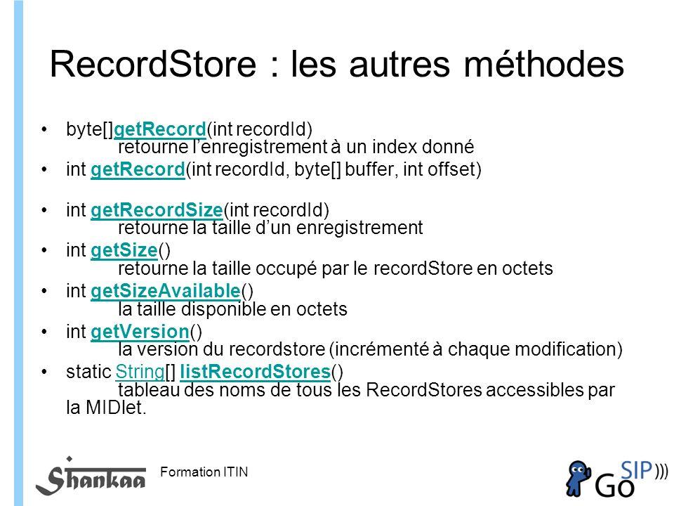 RecordStore : les autres méthodes