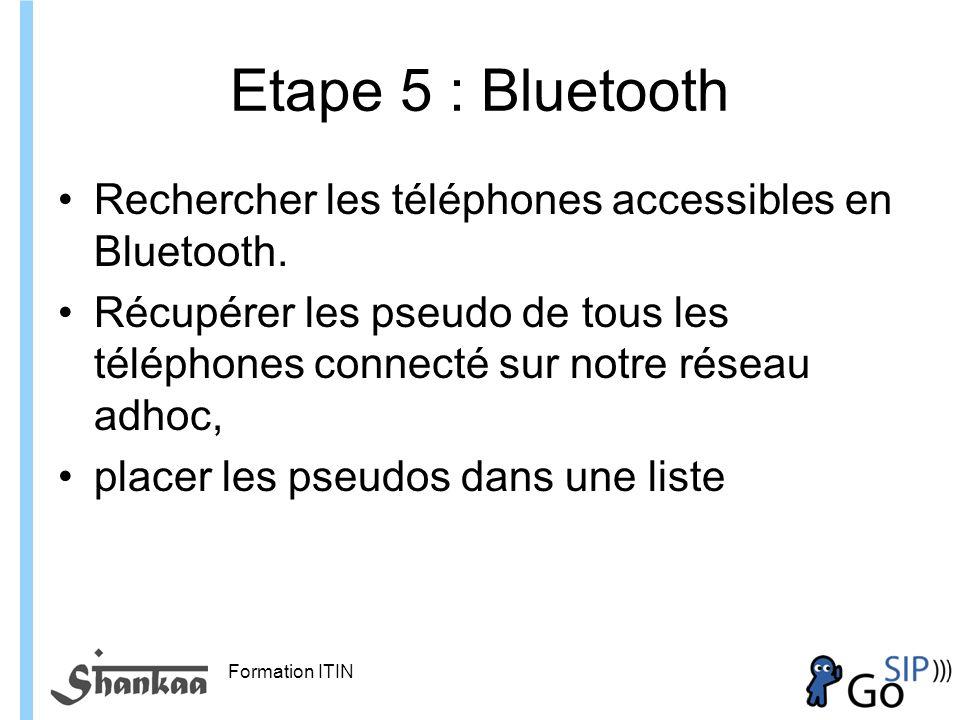 Etape 5 : Bluetooth Rechercher les téléphones accessibles en Bluetooth. Récupérer les pseudo de tous les téléphones connecté sur notre réseau adhoc,