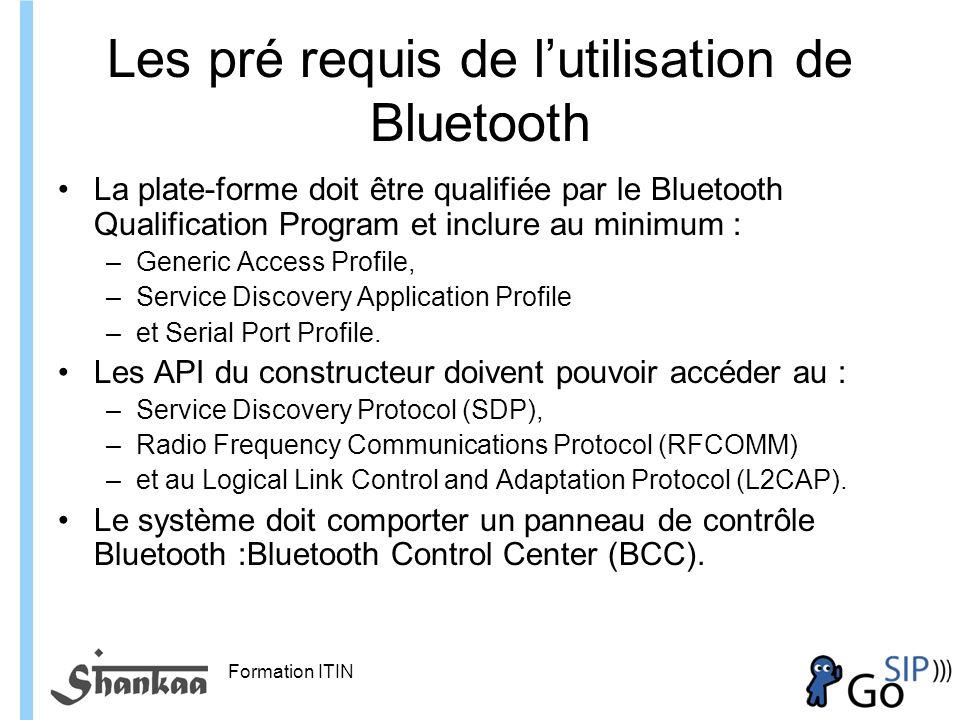 Les pré requis de l'utilisation de Bluetooth