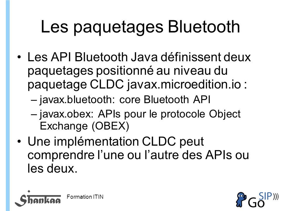 Les paquetages Bluetooth