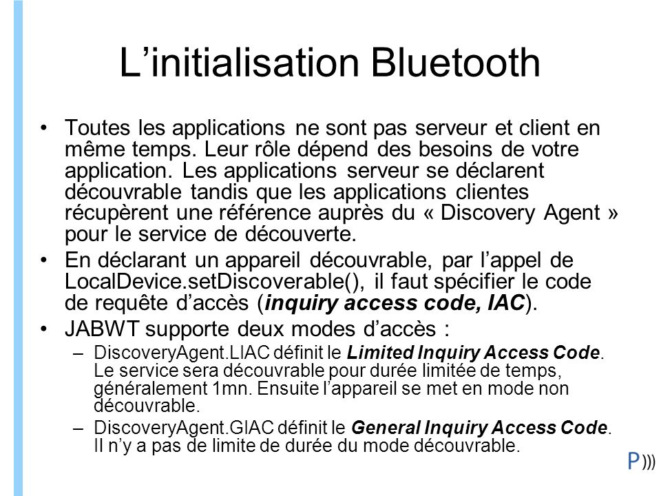 L'initialisation Bluetooth