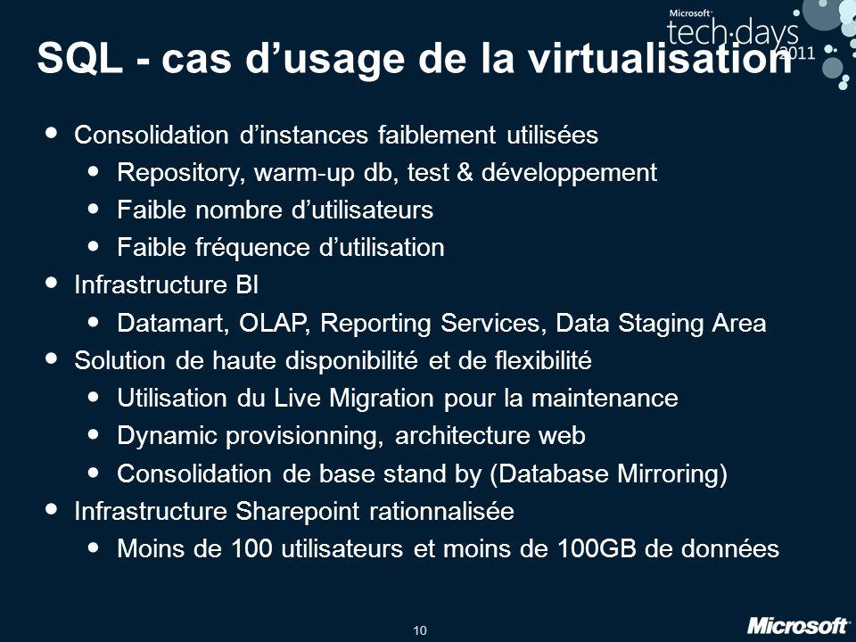 SQL - cas d'usage de la virtualisation