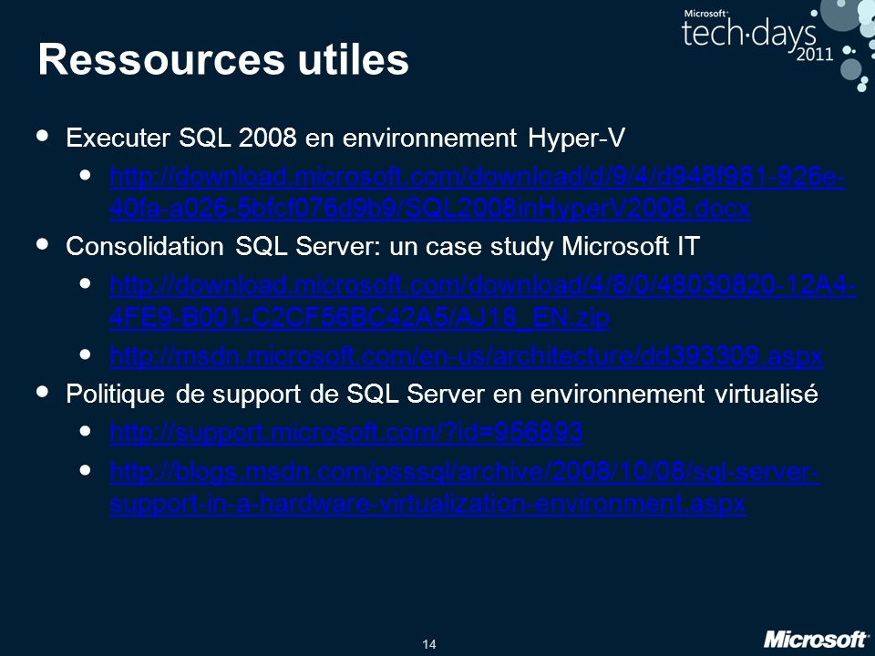 Ressources utiles Executer SQL 2008 en environnement Hyper-V