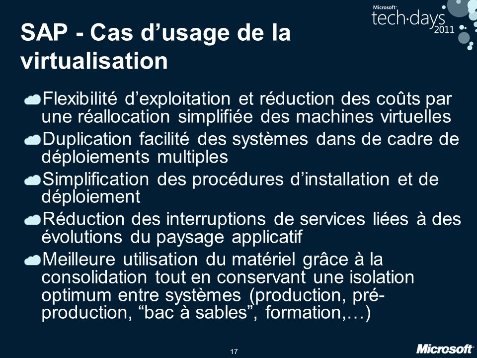 SAP - Cas d'usage de la virtualisation